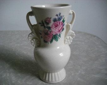 Vintage Vase Royal Copley White Roses