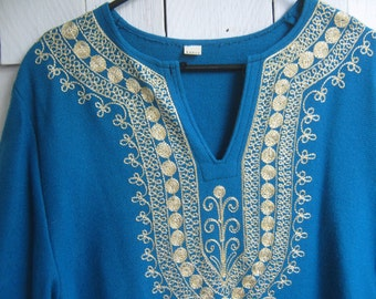 Vintage Caftan Silver Embroidered Teal Blue