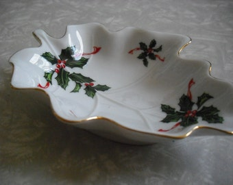 Vintage Dish Christmas Lefton Holly Candy