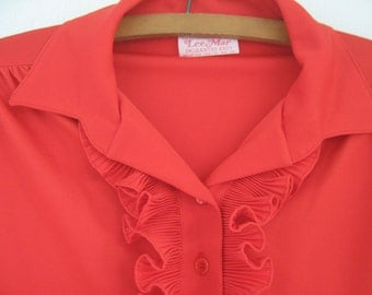 Vintage Red Blouse Ruffle