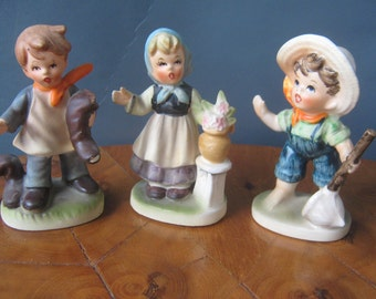 Vintage Figurines Hummel Like Country Children