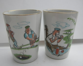 Vintage Cups Porcelain Golf Humor
