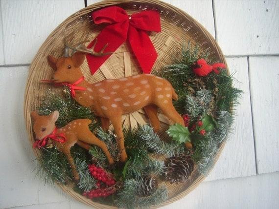 Vintage Christmas Wall Hanging Deer