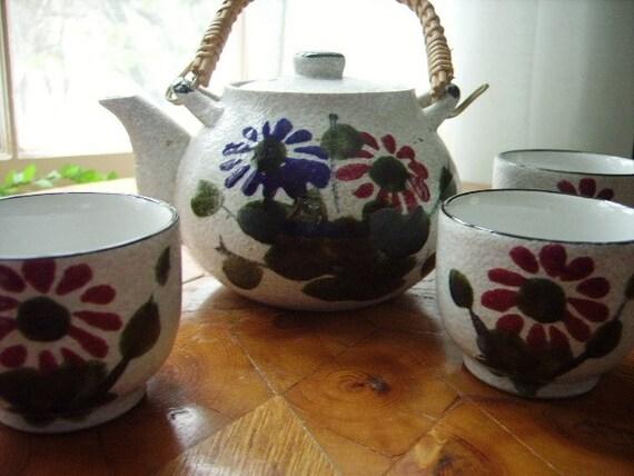 Vintage Teapot Cups Ceramic Set Japan