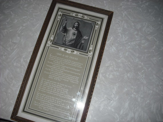 Vintage Print Prayer Religious Framed Jesus This My Friend