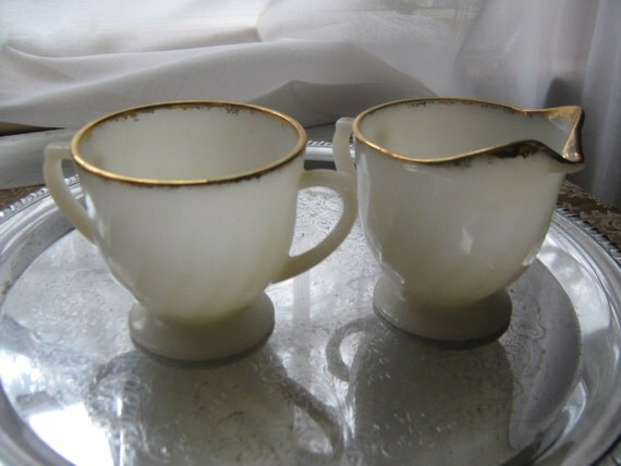 Vintage Fire King Sugar Creamer Set Milk Glass
