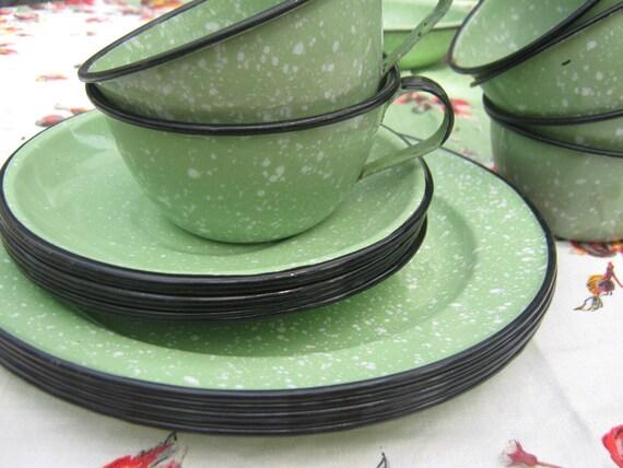 Vintage Graniteware Plates Cups Green White Enamelware
