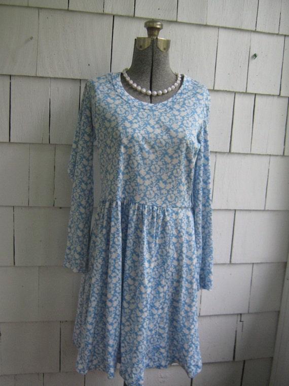 Vintage Blue Print Dress Matti of Lynne
