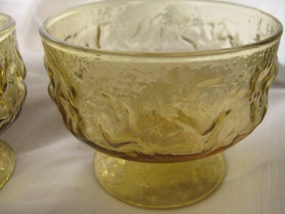 Vintage Bowls Sherbet Dishes Honey Gold Amber Set of 4