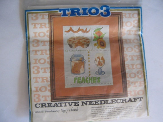 Vintage Embroidery Kit Peaches Picture