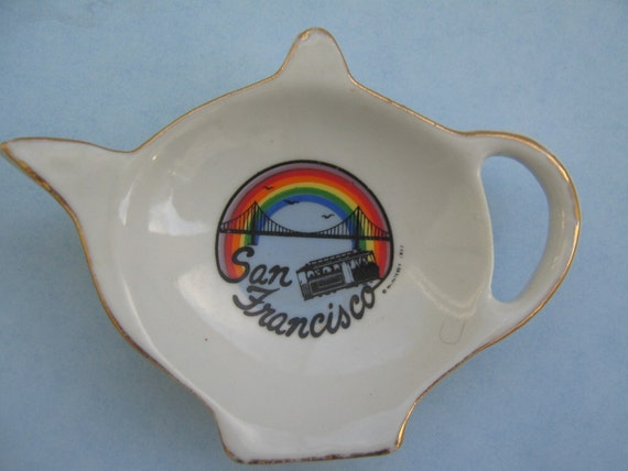 Vintage Souvenir Tea Bag Holder San Francisco