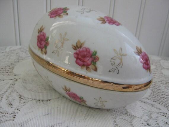 Vintage Trinket Box Ceramic Egg Candy Dish