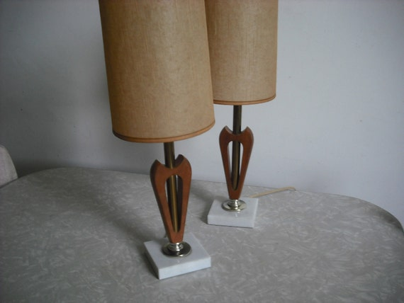Vintage Modern Lamp Pair Mid Century Walnut and Marble
