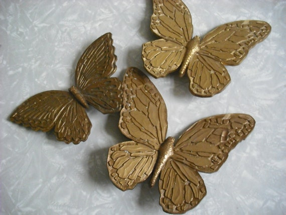Vintage Butterfly Wall Hanging Plaque Trio