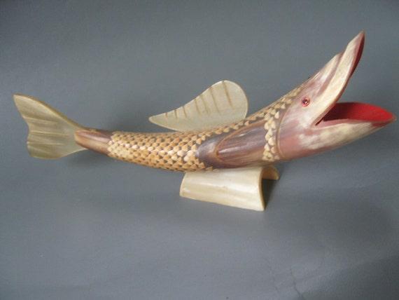 Vintage Koi Fish Figurine Carved Horn
