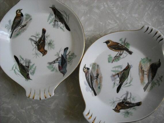 Vintage Casserole Dishes Woodland Bird Serving Lourioux Le Faune  Set of 2