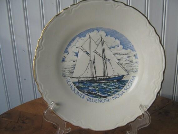 Vintage Plate Nova Scotia Schooner Canada