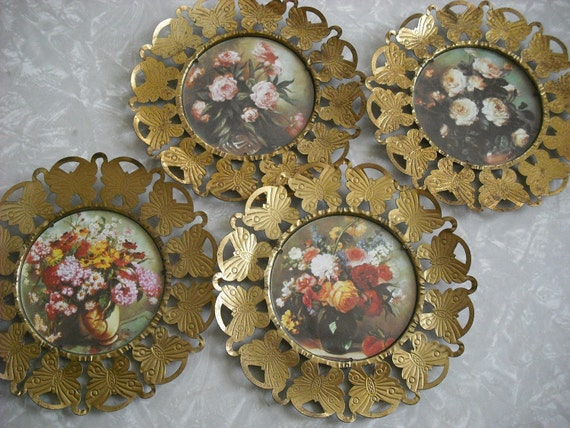 Vintage Plaques English Flower Brass Butterfly Embossed Pictures