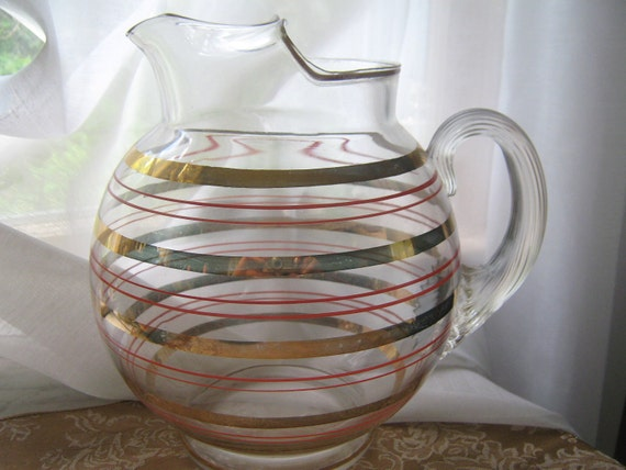 Vintage Ball Pitcher Art Deco Cocktail Round Striped 1940s