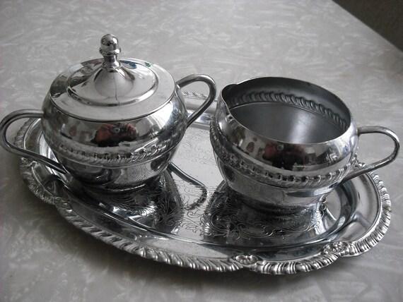 Vintage Chrome Cream and Sugar Set Hollywood Regency Irvinware