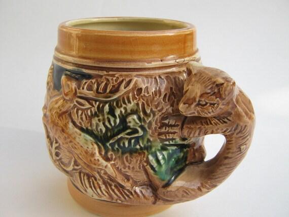 Vintage Mug Ceramic Fox and Stag Deer