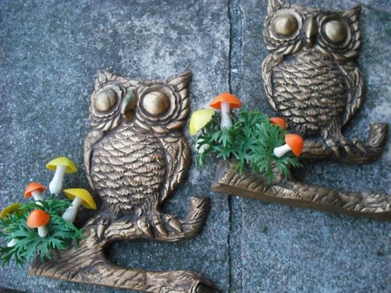 Vintage Wall Plaques Owl Woodland Kitsch Mushroom 1970s