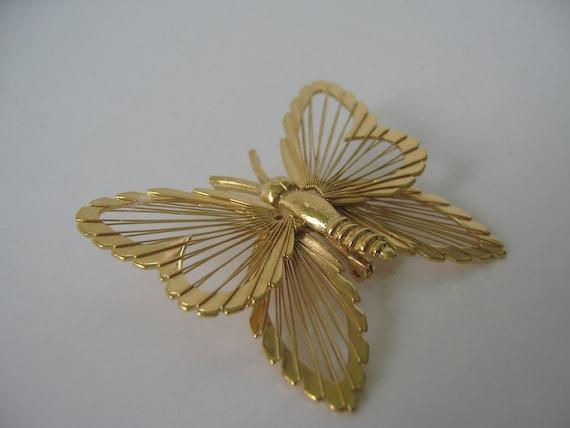 Vintage Butterfly Brooch Pin Monet Goldtone