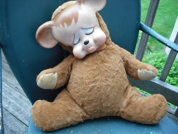 1950s 1960s Sad Pouty Stuffed Bear With Vinyl Face