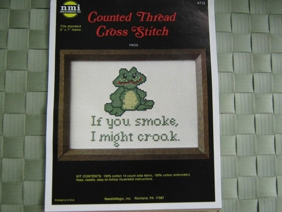 Vintage Craft Kit Counted Cross Stitch Green Frog