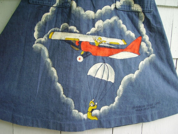 Vintage Denim Skirt Hand Painted