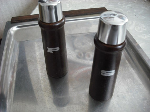 Vintage Salt and Pepper Shakers Wood and Chrome