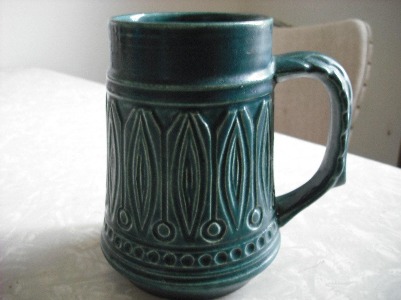 Vintage Art Deco Ceramic Green Beer Mug Stein