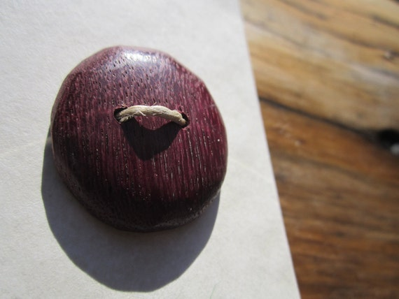 7 Purple Wood Buttons-Handmade Wooden Buttons in Reclaimed Purpleheart- Knitting, Sewing, Craft Buttons