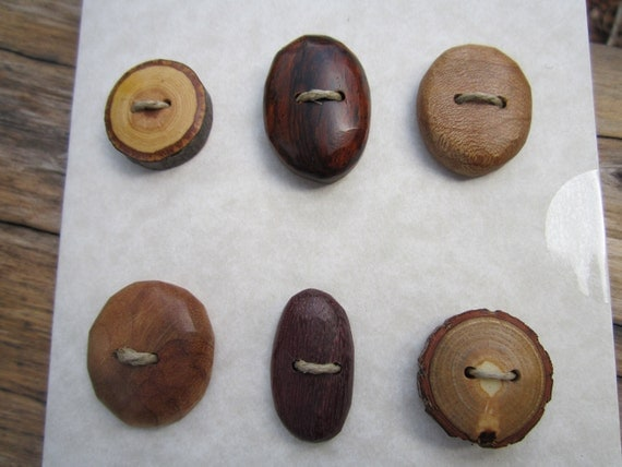 6 Wood Buttons- Handmade Wooden Buttons in reclaimed Woods- Knitting, Sewing and Craft Buttons