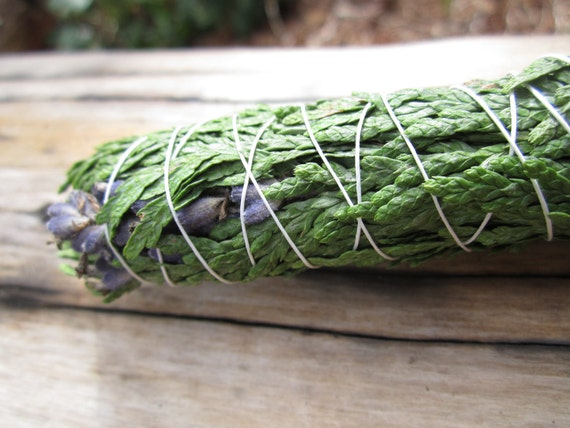 Smudge Lavender Cedar- Organic Herbal Smudging Bundle- Smudge Stick