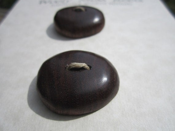 2 Wood Buttons-Handmade Wooden Buttons in Reclaimed Black Walnut Wood- Knitting, Sewing, Craft Buttons