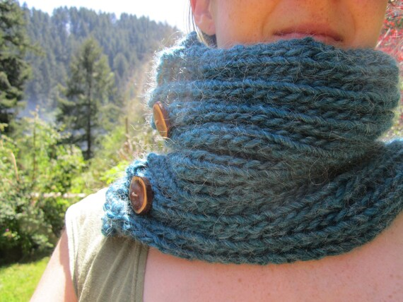 Reserved- Blue Wool Cowl- Handknit Cowl with Handmade Wooden Buttons