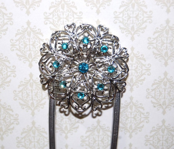 Elisabeth of Bavaria Silver and Blue Aquamarine Crystals on Aluminum Hair Fork
