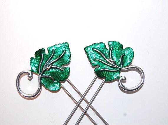 Emerald Green Leaves of Lothlorien Amish Hair Pins