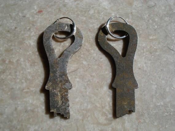 Vintage Cut Iron Lock Box Keys on Sterling Silver Hoop Earrings