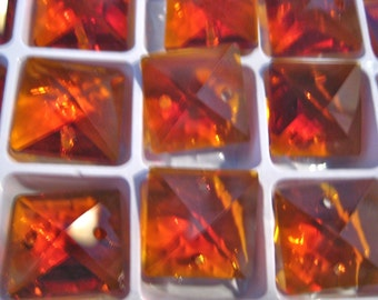 30mm Amber Chandelier Crystal Ball Prism Faceted FULL LEAD