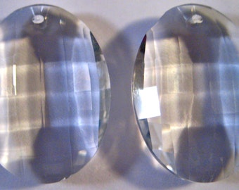 10- Chandelier Crystals Prisms - 38mm Clear Matrix Glass Chandelier Crystals (S-15)
