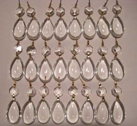 24 Clear Crystal Chandelier Prisms Drops Pendants Ornaments - SET of 24