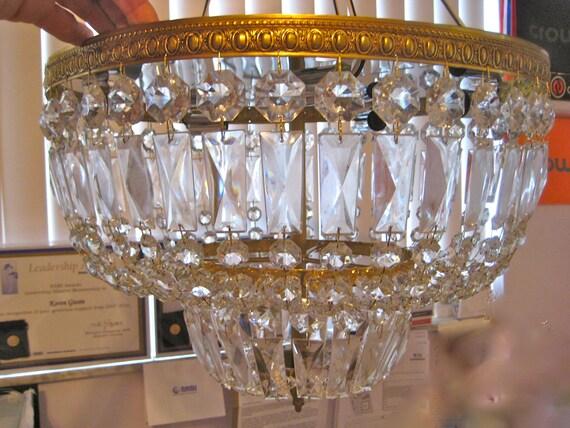 Vintage Chandelier Crystals Prisms - Large Flush Mount Double Basket Prism Chandelier - New in Original Box