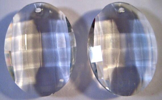 4 Chandelier Crystals Prisms -  38mm Clear Matrix Chandelier Crystals - FULL LEAD Crystal (S-15)