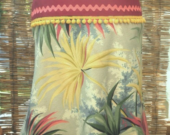 South of the Border Retro Tropical A-line skirt, in true vintage barkcloth