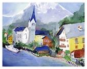 Sleeping Village, Hallstatt Austria - Watercolor Print