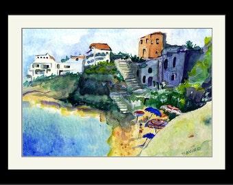 CALABRIA, Painting of Pizzo, Italy, Watercolor Art Print, Catanzaro Italy, Calabrian Wall Art, Ocean Landscape painting of Calabria, Italy