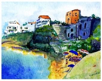 Italy Painting of Pizzo, CALABRIA, Italy - Watercolor Art Print, Catanzaro Italy, Art home decor, Ocean italy Painting Of Italy Art Print