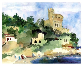 Seascape Watercolor Print, Costa Brava - SPAIN - Wall Art, Costa Brava Spain, Balearic Sea, Catalonia, House Warming Gift, Watercolor Art